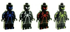 Set of 4 Spiderman (Stealth suit Blue, White, Red & Green) - Custom Designed Minifigures